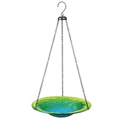 Green and blue, hanging bird bath made of glass.