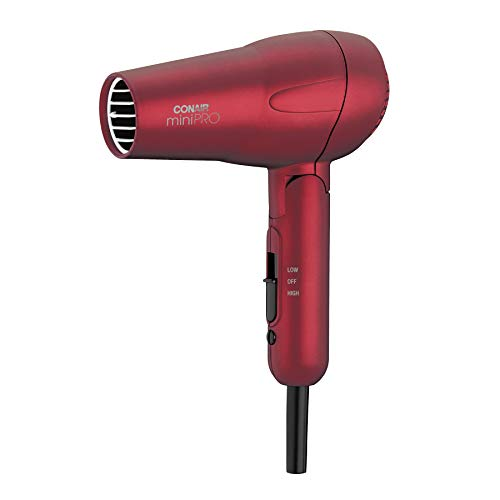 Conair miniPRO Tourmaline Ceramic Hair Dryer with Folding Handle, Travel Hair Dryer, Red (Super Mini Travel Hair Dryer)