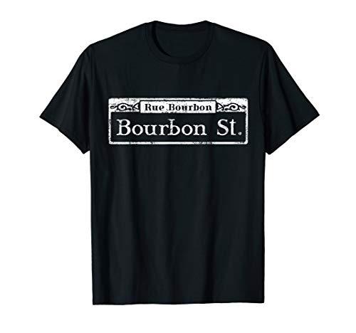 Mardi Gras Street T-Shirt - Bourbon Street Sign Souvenir ()