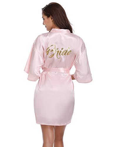 Vlazom Women's Satin Robe Short Kimono for Bride & Bridesmaid Wedding Party Robes with Gold Glitter or Rhinestones