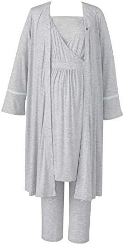 ワコール wacoal 産前・産後兼用 マタニティパジャマ 2トップス (半袖トップ+九分袖羽織り)授乳開き付き MFS554