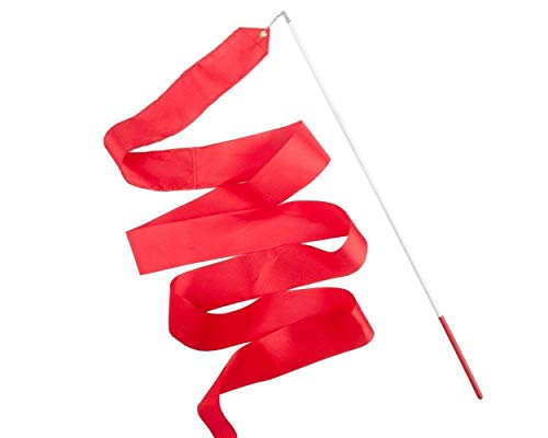ACE SELECT Dance Ribbons with Wands 4m Rhythmic Gymnastics Ribbon Dance Streamer for Kids Baton Twirling - Red