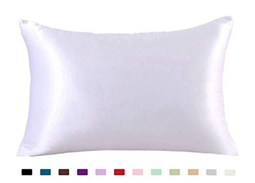 (JUWENIN,Luxury Satin Pillowcase with Zipper (Silky Satin Pillow Case for Hair) Set of 2 (Queen, White))