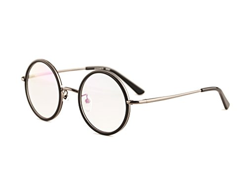- Agstum Vintage Retro Small Round Prescription Optical Eyeglass Frame 43mm (Black+Grey, 43mm)