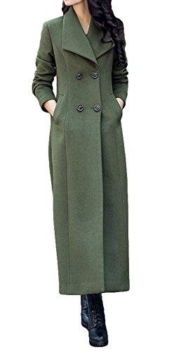 Vento Vento Donna Donna Donna di Giacca Militare Lana a Cachemire Trincea Cappotto Lungo camminatore Verde Moda qRpxwROr0