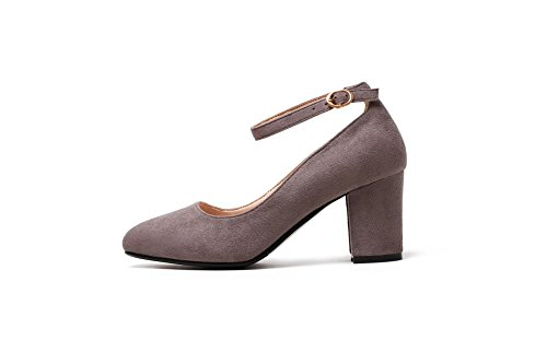 Odomolor Toe Women's Square Frosted Pumps Buckle Gray Solid 42 Shoes Kitten Heels BB0rqTw