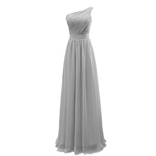 CuteShe Long Bridesmaid Silver Shoulder Women's One Chiffon Dresses 1Urq1wS