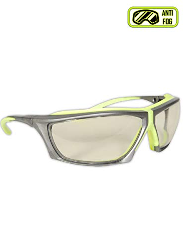 Magid Safety Y770HVAFIO Gemstone Zircon Plus Hi-Viz Safety Glasses, Indoor/Outdoor Lens, Standard, Gray Frame/Clear Lens (1 Pair)