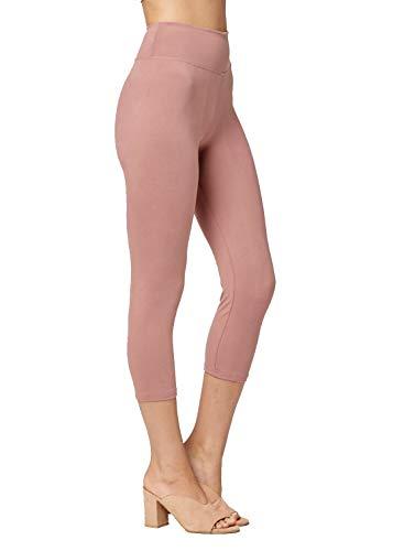(Conceited Super Soft High Waisted Leggings for Women - Capri Mauve Pink - Small/Medium (0-10))