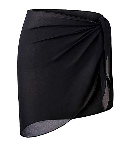 CARDYDONY Women's Beach Sarong Short Knee Length Wrap Skirt Cover Ups for Swimwear Black Short Plus Size