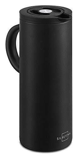 SILBERTHAL Jarra termica Cafe 1 litro | Termo para Cafe Caliente | Termo Chocolate Caliente | Termo Mate Aislante isotermico | Acero Inoxidable Negro