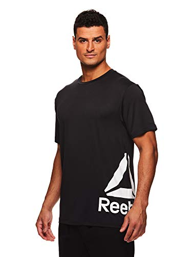 Reebok Men's Supersonic Crewneck Workout T-Shirt Designed with Performance Material - Duration Black Heather, Medium