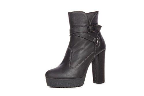 N & K Chaussures London Gaia Talon Haut, Bottes Noires Dames