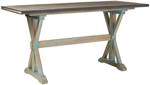 Kings Brand Arland Grey Blue Wood Counter Height Rectangle Kitchen Dinette Dining Table