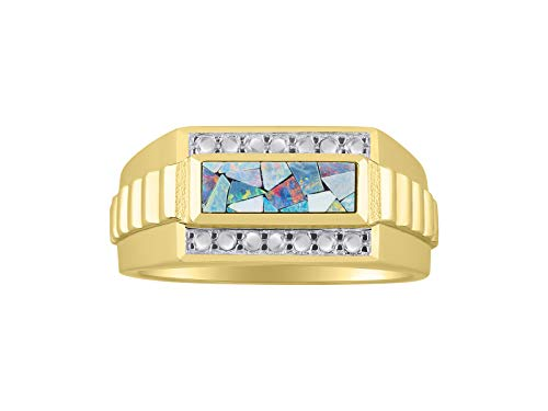 Exotic Mosaic Opal Designer Style Ring Set in Sterling Silver or Yellow Gold Plated Silver .925 Sizes 9, 10, 11 (yellow-gold-plated-silver, 9)