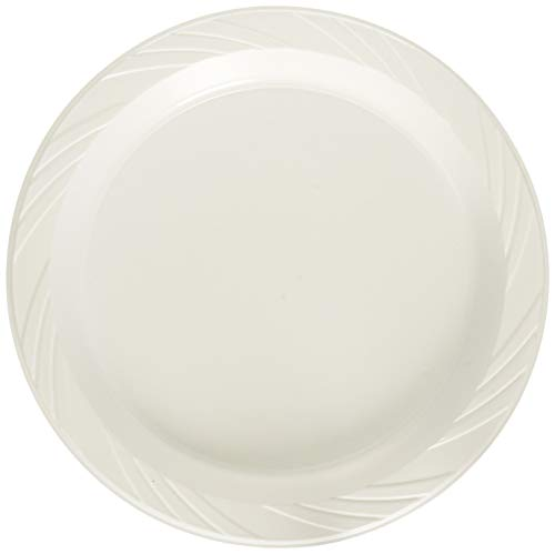 Genuine Joe - 9quot; Plastic Round Plates, Reusable/Disposable, 125/PK, White, Sold as 1 Package, GJO 10329