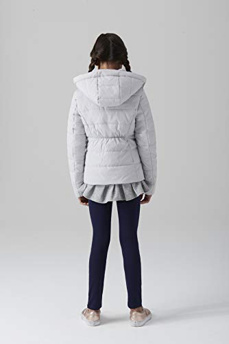 - Gallery Girls' Big Casual Mid Length Hooded Parka with Sweatshirt Trim, snowcone Silver, Small