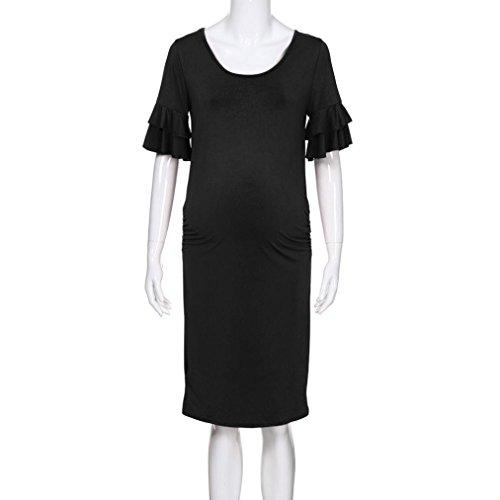 ... Huhu833 Mutterschaft Kleid, Frauen Schwangerschaft Einfarbig Kleid  Mutterschaft Sommer Kurzarm Sommerkleid Kleidung Schwarz ... 5a7c5a452a