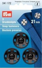 lat/ón Negro Prym 6 mm Sew-Corchetes 12 Unidades