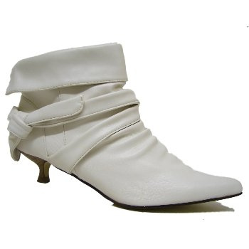 Womens White Ruched Kitten Heel Pointy Pointed Ladies Ankle Boots ...