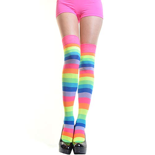Angelina Neon Rainbow Thigh High socks, #6753A, One size ()