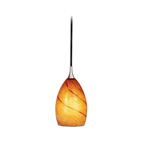 (Vaxcel PD30119SN Milano Mini Pendant with Lava Swirl Glass, 4-1/4