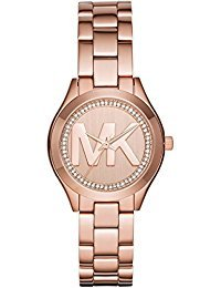 Michael Kors Women's Mini Slim Runway Logo Gold-Tone Watch MK3549 - Round Logo Watch