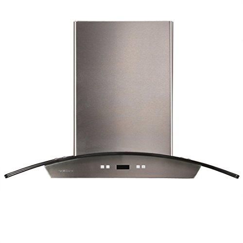 CAVALIERE 36″ Island Mounted Stainless Steel/Glass Kitchen Range Hood 900 CFM SV218D-I36