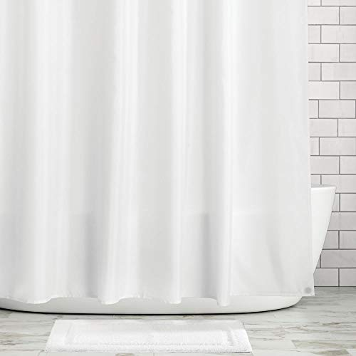 (mDesign Water Repellent, Mildew Resistant, Heavy Duty Flat Weave Fabric Shower Curtain, Liner - Weighted Bottom Hem for Bathroom Shower and Bathtub - 72