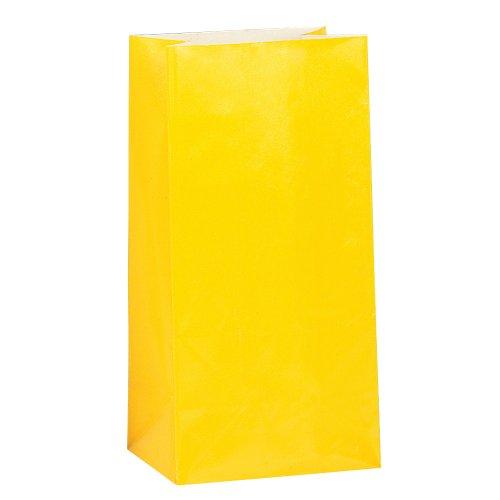Gelbes Papier Partytüten (Packung mit 12)