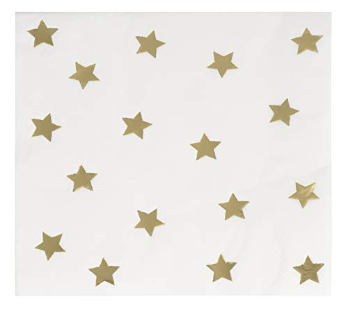 Cocktail Napkins - 50-Pack Gold Foil Star Disposable Paper Napkins, 3-Ply, Birthday, Bridal Shower Party Decoration Supplies, Folded 5 x 5 ()