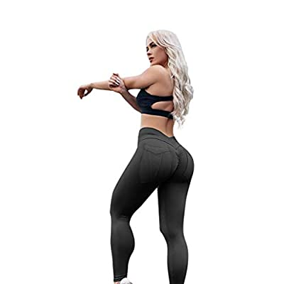NUWFOR Women High-Waisted Sexy Skinny Leggings Sport Push Up Yoga Pants