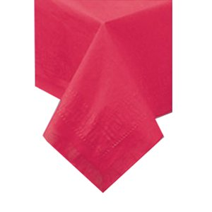 Like Paper Banquet Table Covers - Hoffmaster Tissue/Poly Red Tablecover, 54 x 108 inch - 25 per case.