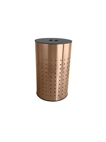 Brushed Copper Laundry Bin & Hamper | 50L Ventilated Stainless Steel Clothes Basket With MDF Lid | Life Time Warranty| by Krugg