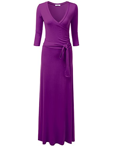 NINEXIS Women's V-Neck 3/4 Sleeve Waist Wrap Front Maxi Dress Purple S