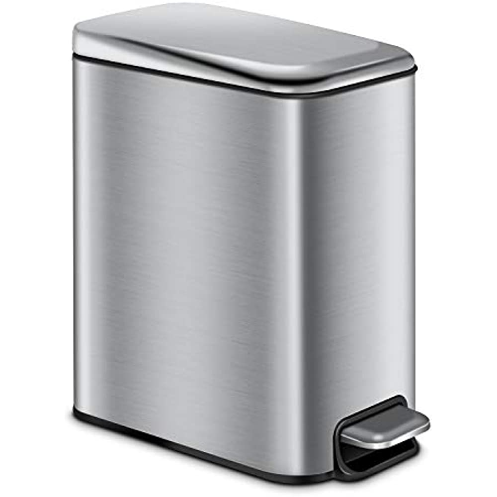 Bathroom Trash Can With Lid Soft Close, Rectangular Small ...
