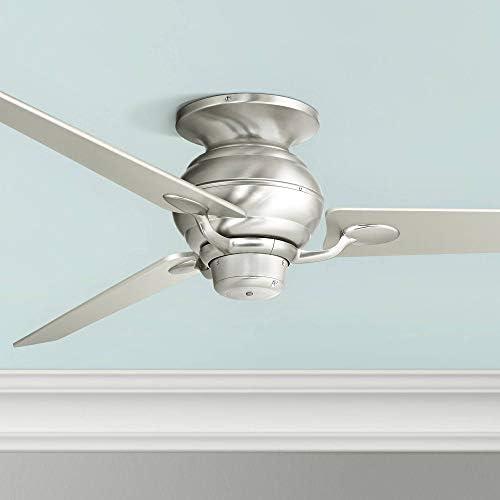 60 Spyder Modern Hugger Low Profile Ceiling Fan Brushed Nickel Tapered Silver Blades for Living Room Kitchen Bedroom Dining – Casa Vieja