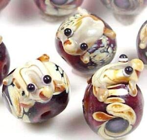 (Lampwork Handmade Glass Frog Hug Ball Amber Taffy Swirl Beads (6) Spacer Beads and Roll Crystal String for Bracelets Jewelry Making)