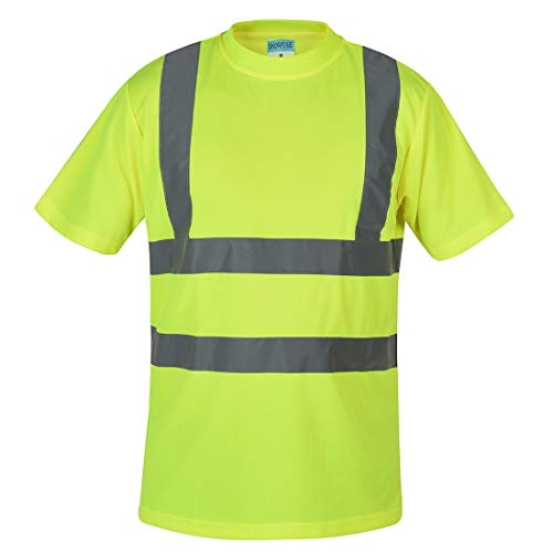 SHORFUNE High Visibility T-Shirt with Short Sleeve, Reflective Strips, Yellow, ANSI/ISEA Standards, M (Yellow Together T-shirts)