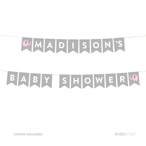 Andaz Press Girl Elephant Baby Shower Collection, Personalized Hanging Pennant Party Banner with String, Madison's Baby Shower, 8-Feet, 1-Set, Custom Name, Decor Paper Decorations]()