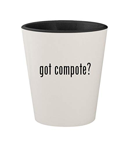 got compote? - Ceramic White Outer & Black Inner 1.5oz Shot Glass