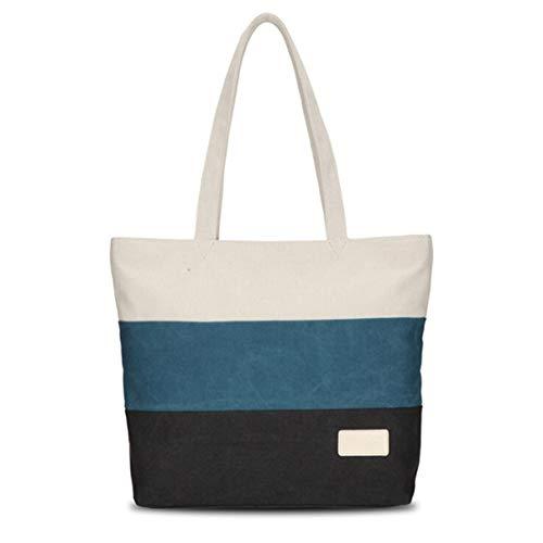 Danzh Bag Stripe Patern Canvas Tote Shopping Shoulder Casual Bags