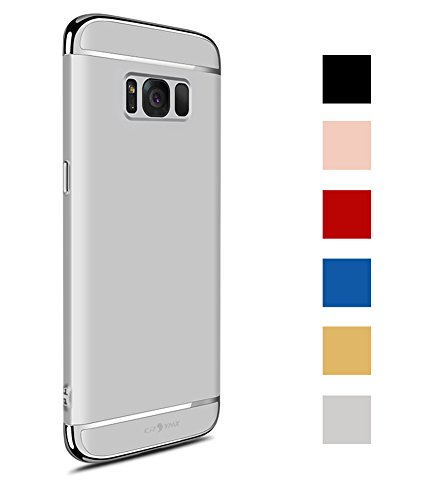 CROSYMX Galaxy S8 Case, 3 in 1 Hybrid Hard Plastic Case Ultra Thin and Slim Anti-Scratch Matte Finish Back Cover for Samsung Galaxy S8 (5.8'')(2017) - Silver