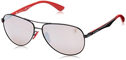 (Ray-Ban RB8313M Scuderia Ferrari Collection Aviator Sunglasses, Matte Black/Polarized Purple Silver Mirror, 61 mm )