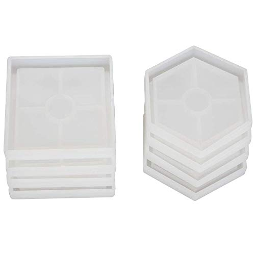 TOOGOO 8 Pcs DIY Coaster Silicone Mold, Include 4 Pcs Square, 4 Pcs Hexagon,Bottom Bracket Prevents Deformation, Molds for Casting with Resin, Concrete, Cement ()