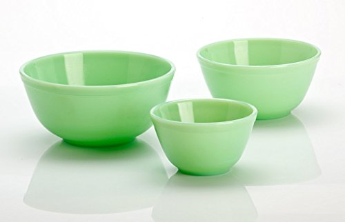 - 3 Pieces Glass Mixing Bowl Set - Jade (Green) Color - 20 oz, 40 oz, 65 oz