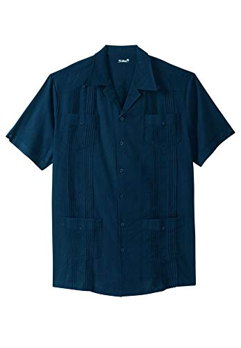 Kingsize Men's Big & Tall Short-Sleeve Linen Guayabera Shirt, Navy Tall-2XL