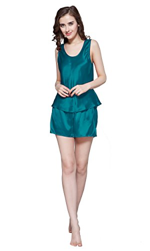 LILYSILK Women's Mulberry Silk Camisole Pajama Set Shorts 22 Momme Pure Silk (Medium/8-10, Dark Teal) by LilySilk