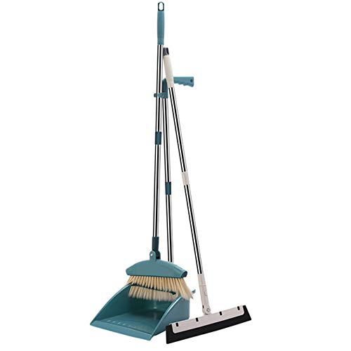 SPMDH Broom and Dustpan Set,Upright Dust Pan,Long Handle Broom and Wiper Blade Three-Piece, for Home, Kitchen, Room, Office, Lobby Floor Use Without Bending