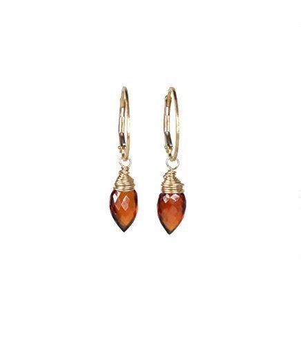 Genuine Mozambique Garnet Earrings - Genuine Red Garnet Arrow Gemstone Drop Earring Gold - 1.3